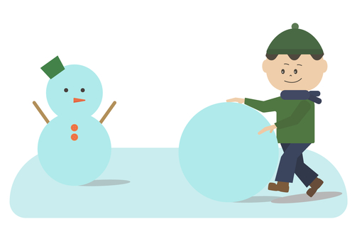 Boy making snowball with snowman