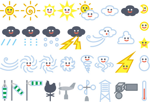 Weather icon mark set