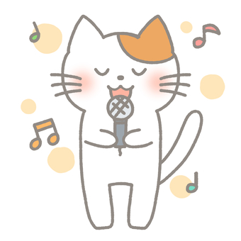 Cat singing song with microphone at karaoke