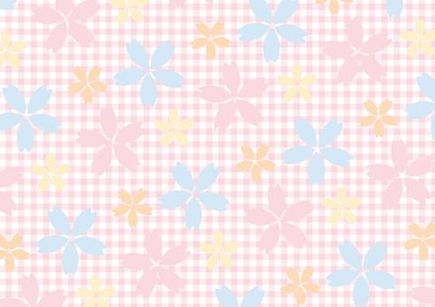 화려한 벚꽃과 깅엄 체크