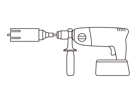 Wall drilling tool with battery Monochrome