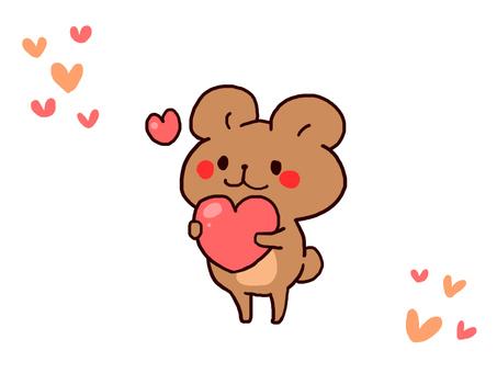 【Valentine】 Bear illustration 【Heart】