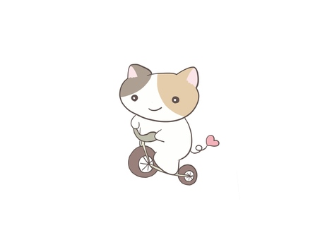 Calico cat riding a bicycle