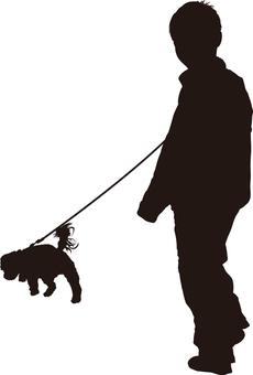 Dog walk silhouette
