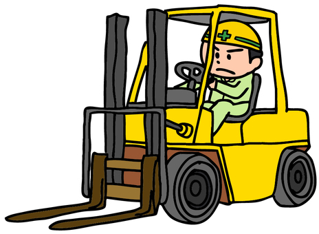 Men working with forklifts