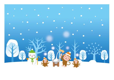 Mochi-making ceremony in the winter scene