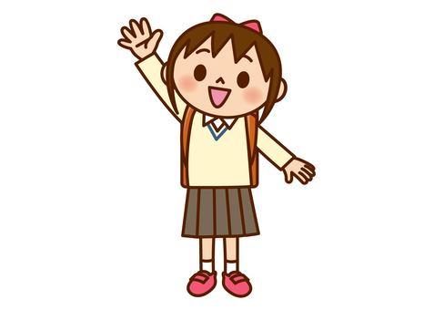 女孩舉手(毛衣)
