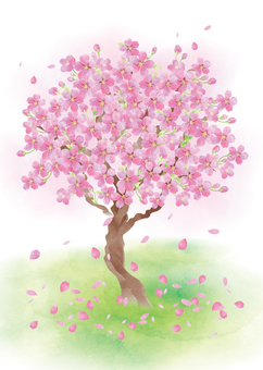 Watercolor style cherry tree