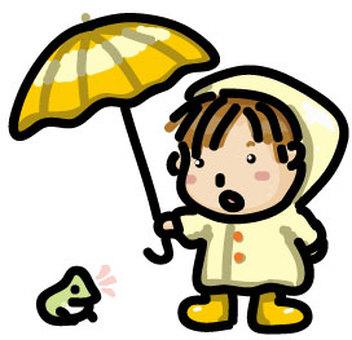 孩子在雨天