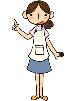 A woman of an apron (pointing)