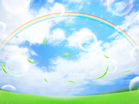 Lawn blue sky rainbow leaves Soap bubble background wallpaper · frame