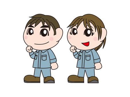Male and female operators