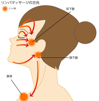 Lymphatic massage direction face