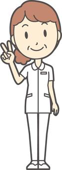 Middle-aged woman nurse white coat -101-whole body