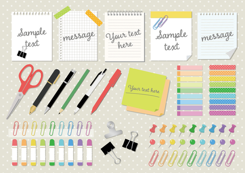 Illustration set of notepads / stationery