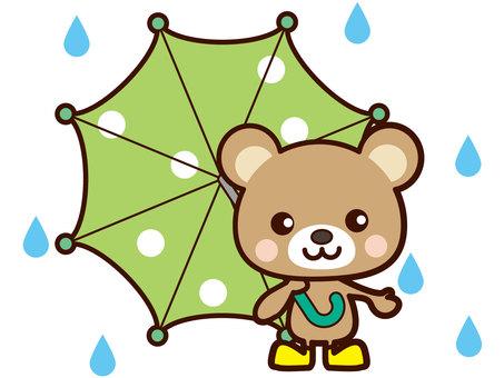 Bear bearing an umbrella