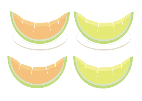 A set of cut melons with cuts