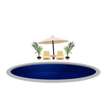 Circular pool and beach chair