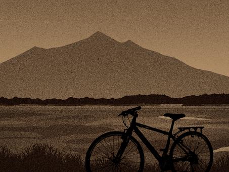Mt. Tsukuba and a bicycle