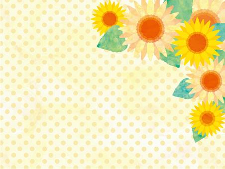 フレーム枠花ひまわり夏背景壁紙水彩手描き