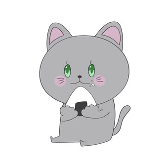 A cat eating a rice ball
