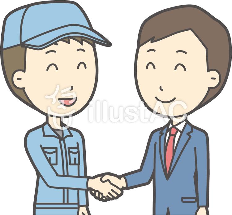 青年スーツ青と握手-003-バストのイラスト