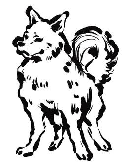 Line drawing illustration dog illustration