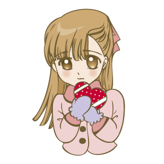 A girl with heart chocolate