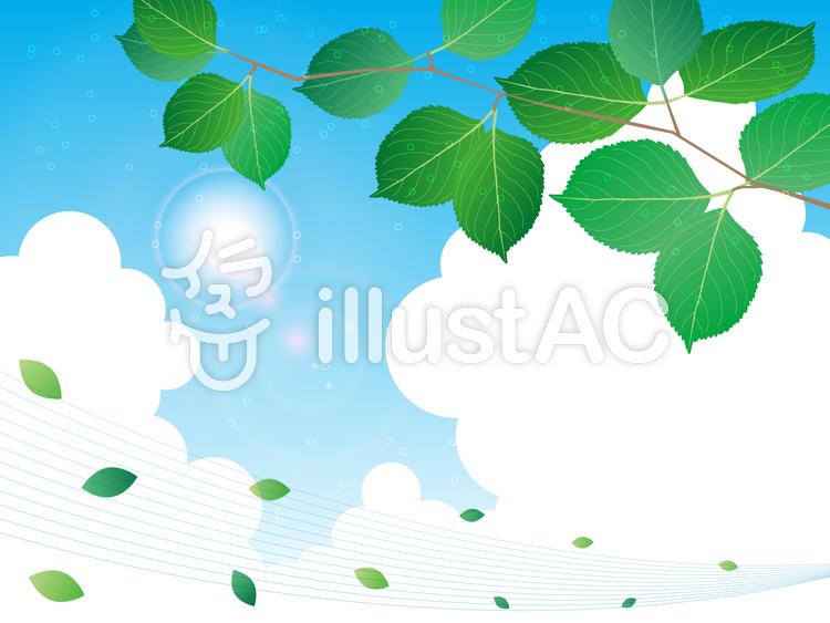 【フリーイラスト素材】  緑と夏空