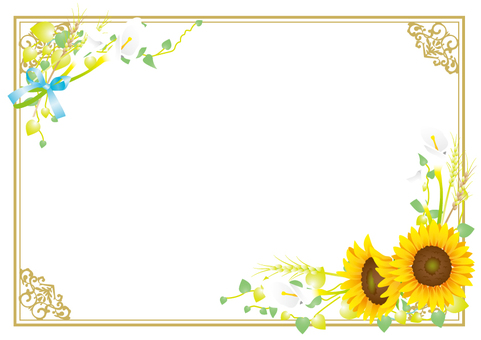 Sunflower and color elegant frame