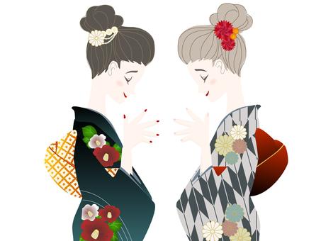 Two kimono women