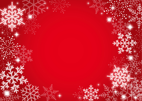 Winter snow background red