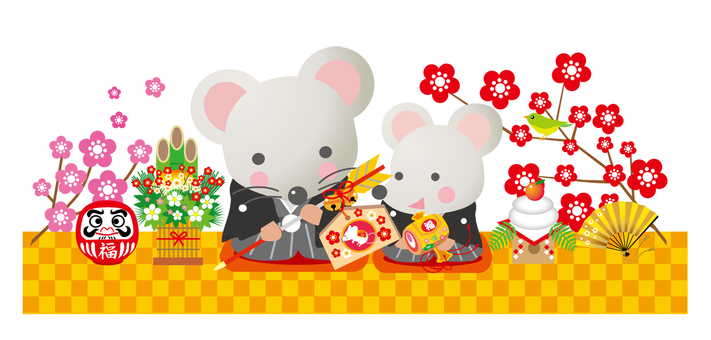 New Year's greeting card with mouse and child