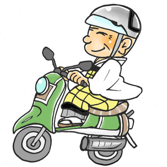 Monk who rides a scooter