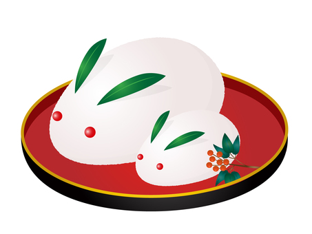 Snow rabbit in a bowl