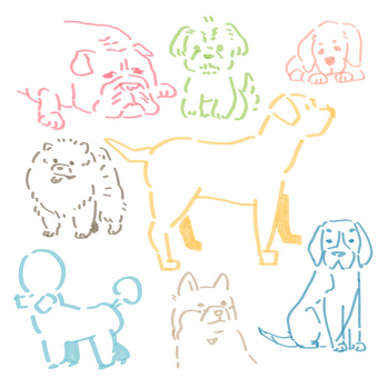 Dog illustration set