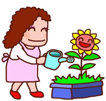 Mother watering flowers