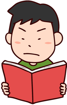 Illustration of a boy reading a book