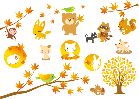 Autumn leaves and animals