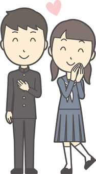Junior high school student gender set-060-whole body