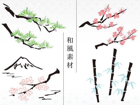 Hand-painted material Japanese style 01