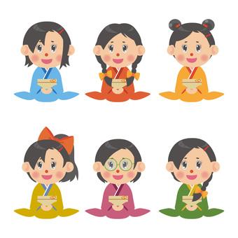 Illustration set of women in kimono (regular seat)