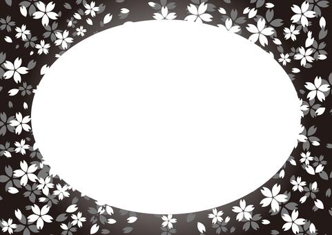 シンプルなモノトーンの桜フレーム丸型