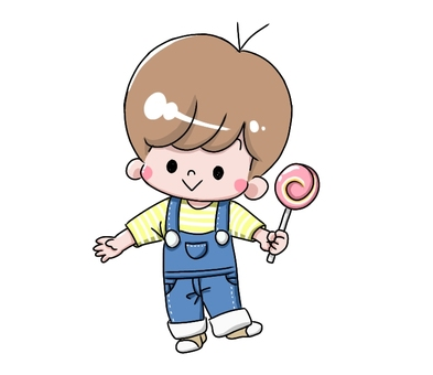 Boy with candy wearing overalls