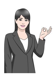 Suit woman money gesture