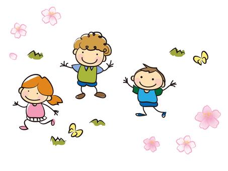 Cherry blossoms and children 2