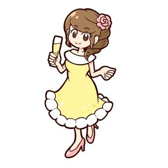 Girl in yellow long dress