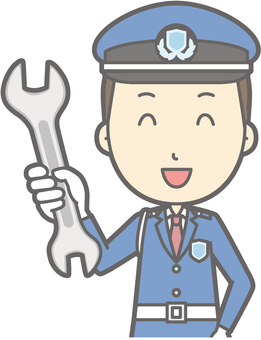 Security guard - spanner - bust