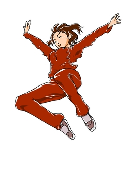 Jumping woman (red)
