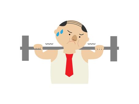 근육 트레이닝을하는 직장인의 일러스트
